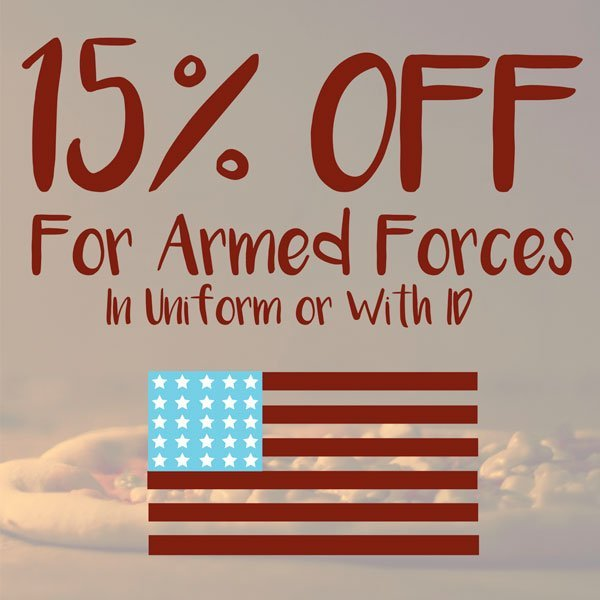 15% Off for Armed Forces (In Uniform or with ID)