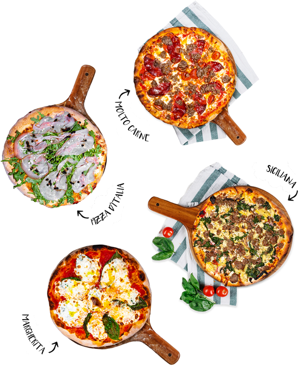 Featured Pizzas: Sicilliana, Margherita, Pizza Italia, Molto Carne